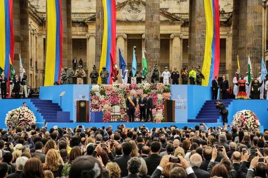 Cérémonie d'investiture du président Ivan Duque sur la place Bolivar à Bogota, le7août.