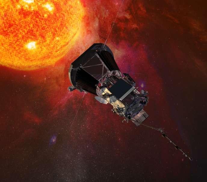 Vue d'artiste représentant la sonde Parker Solar Probe s'approchant du Soleil.