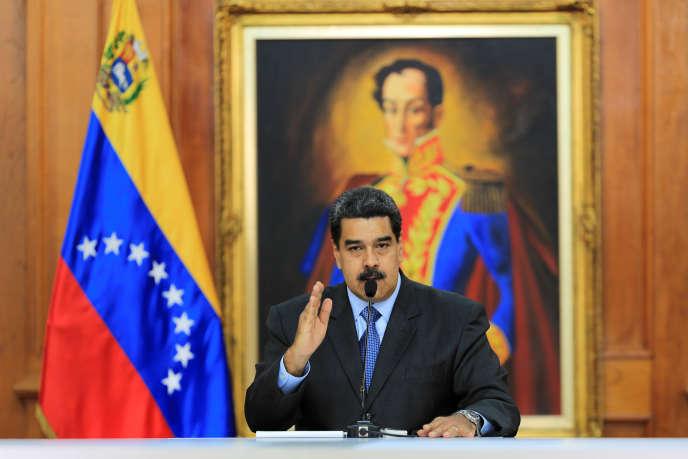 Le président vénézuélien Nicolas Maduro, lors de son allocution devant le gouvernement, au palais Miraflores à Caracas, le 7août.