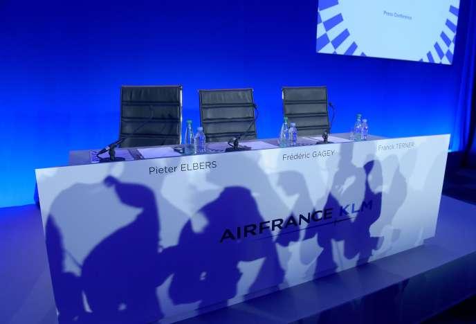 Les sièges de la direction d'Air France-KLM avant la présentation des résultats semestriels de la compagnie aérienne, à Paris, le 1er août.