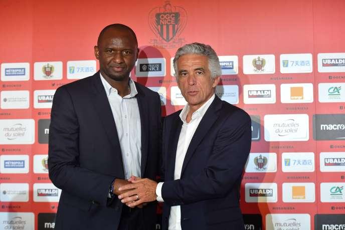 Patrick Vieira (à gauche) et Jean-Pierre Rivère (à droite), le 11 juin 2018 à Nice.
