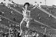 L'athlète soviétique Galina Chistyakova lors de son saut à 7,52mètres à Léningrad en 1988.