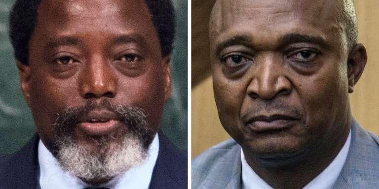 Le président Joseph Kabila (gauche) à New York, en septembre 2017, et son dauphin désigné, Emmanuel Ramazani Shadary, à Kinshasa, le 8 août 2018.