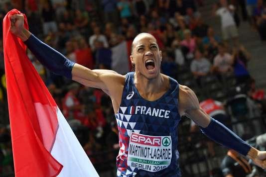 Pascal Martinot-Lagarde, champion d'Europe du 110m haies à Berlin le 10 août.