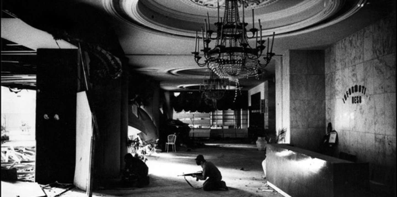Christian gunmen in the foyer of the Holiday Inn, battling with Palestinians, Beirut, Lebanon, 1976.