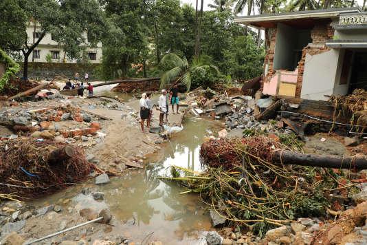 Dévastation dans la ville de Calicut, troisième plus grande ville de l'Etat du Kerala, le 10 août 2018.