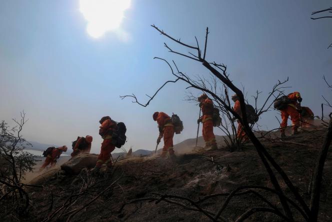 Les pompiers tentent de contenir le «Holy Fire», au sud-est de Los Angeles.