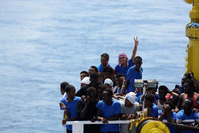 A bord de l'«Aquarius», le dimanche 12 août.