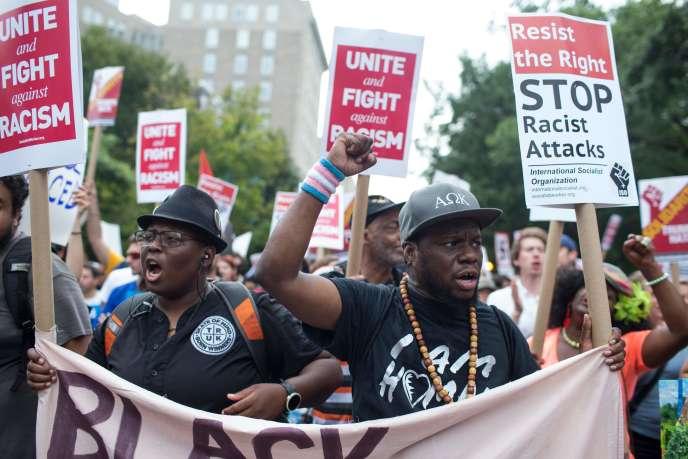 Lors de la contre-manifestation, le 12 août, à Washington.