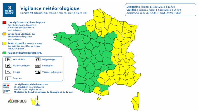Bulletin de vigilance météorologique du lundi 13 août.