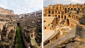A gauche, le Colisée, construit à Rome au Ier siècle, accueillait jusqu'à 50 000 spectateurs. Adroite, l'amphithéâtre d'El Jem, où jusqu'à 30 000 personnes pouvaient assister aux jeux du cirque.