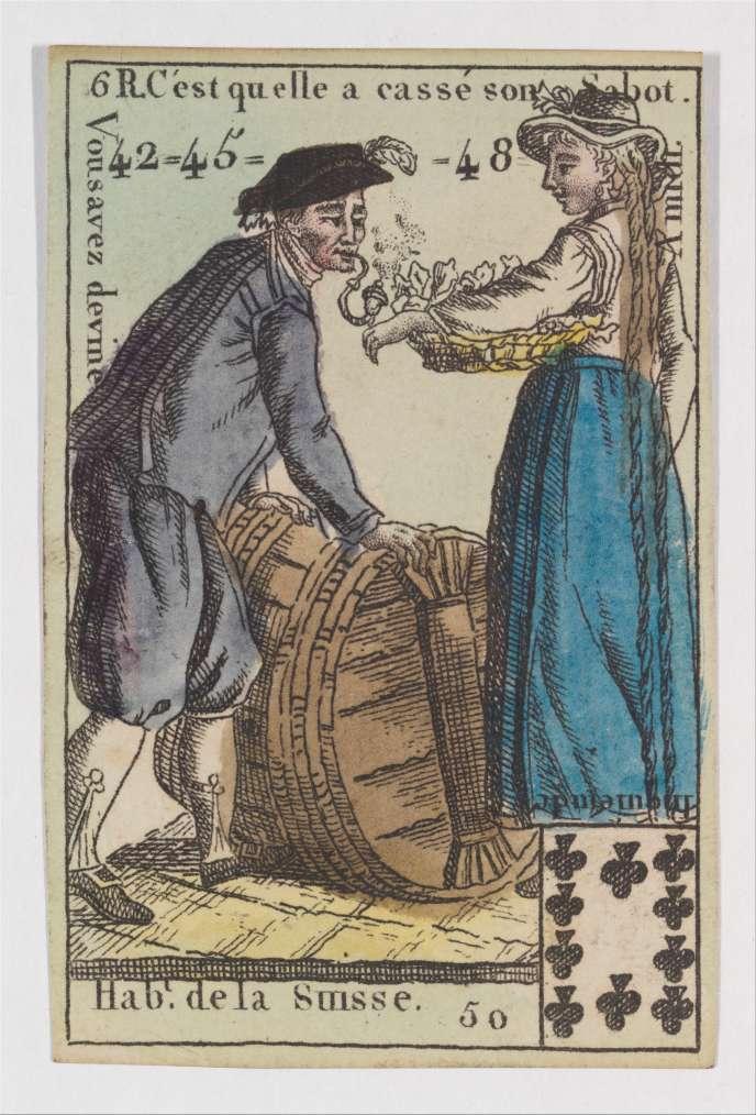 Une carte à jouer du XVIIIe siècle, d'une série anonyme de «Costumes des peuples étrangers» : le 10 de Trèfle, la Suisse.