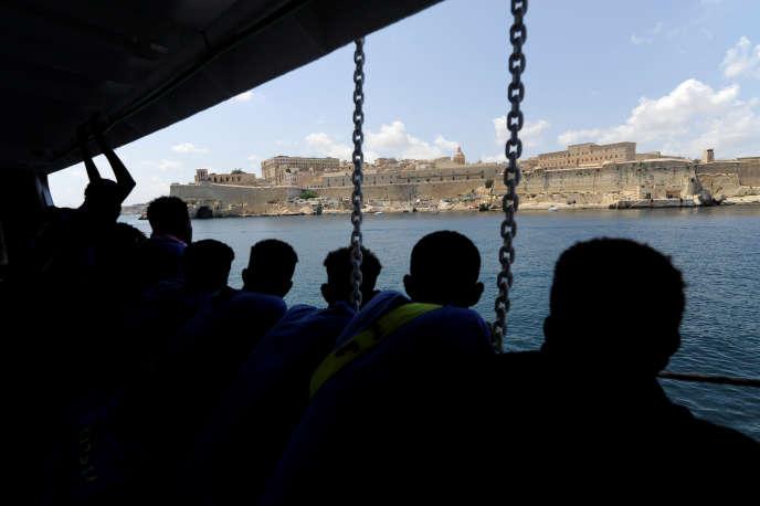 A bord de l'«Aquarius», le 15août à La Valette.