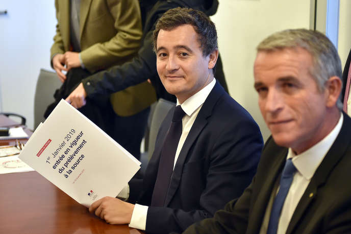 Le ministre de l'action et des comptes publics, Gérald Darmanin, le 13 novembre 2017, dans les locaux de l'entreprise GSF Atlantis, à Toulouse.