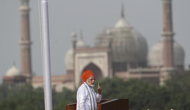 Discours à la nation du premier ministre indien, Narendra Modi, pour célébrer la fête de l'indépendance, le 15 août, à New Delhi.