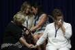 Des victimes d'abus sexuels par des membres du clergé lors de la lecture du rapport du grand jury, àHarrisburg (Pennsylvanie), le 14 août.