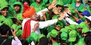 Le premier ministre, Narendra Modi, lors de son discours à la nation à l'occasion du 72e jour de l'indépendance en Inde.