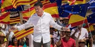 Manuel Valls lors d'un rassemblement du mouvement España Ciudadana, à Palma de Majorque, le 8 juillet.