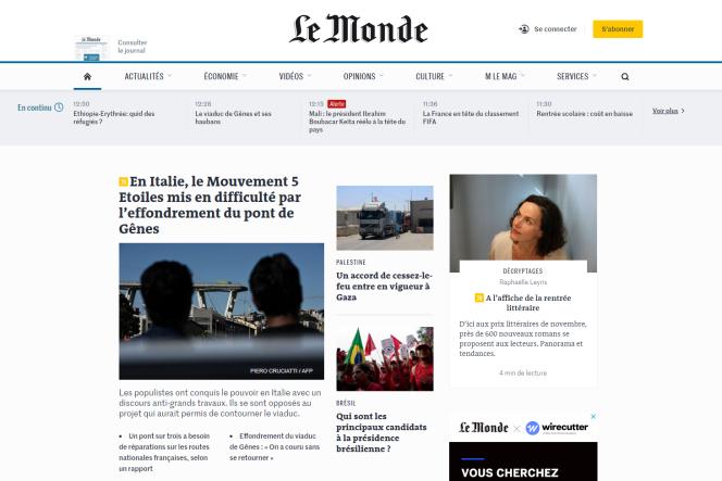 Aperçu de la nouvelle « une» du Monde.fr, actuellement en phase de test.
