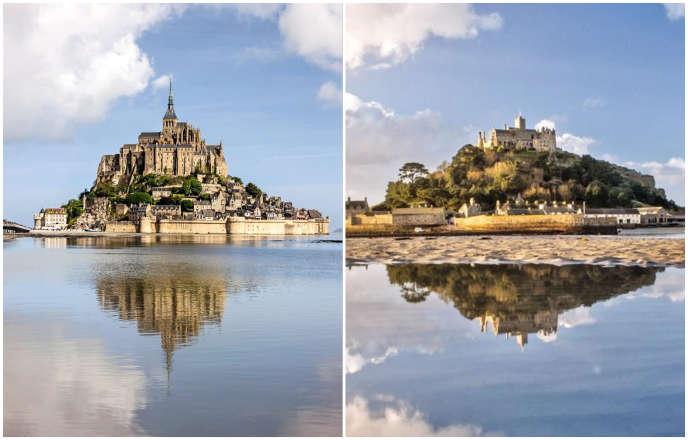 A gauche, le Mont-Saint-Michel, en Normandie ; à droite, le St Michael's Mount,en Cornouailles, dans le sud-ouest du Royaume-Uni.