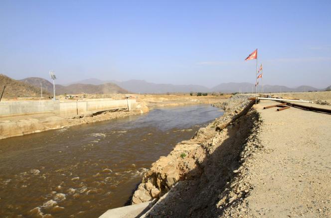 Sur le chantier du barrage Renaissance, en Ethiopie, en 2014.