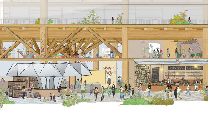 En rez-de-chaussée des immeubles en bois, des espaces modulables, des équipements communautaires, des passages couverts...