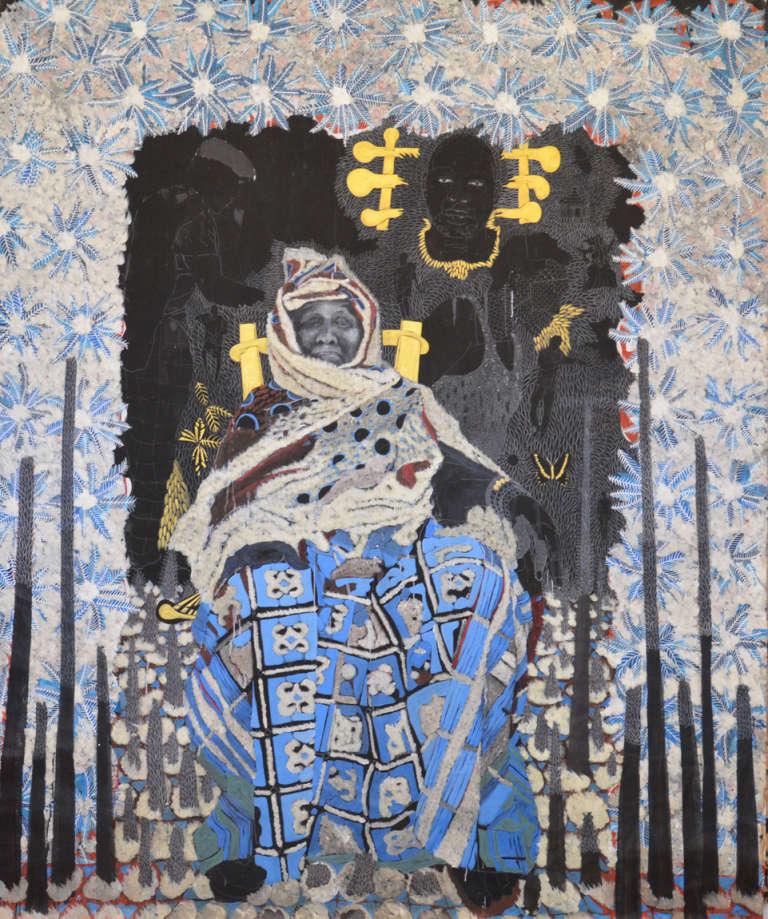 « Diafate », 2018. Huile, acrylique, crayon, gouache sur carton toile, 250 x 200 cm. CRÉDITS : COURTESY TEMPLON, PARIS & BRUXELLES