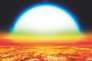 L'exoplanète KELT-9B telle que la représente l'artiste Denis Bajram. Elle est si proche de son étoile bleutée que le disque de celle-ci apparaît 70 fois plus grand que le Soleil dans le ciel de la Terre.