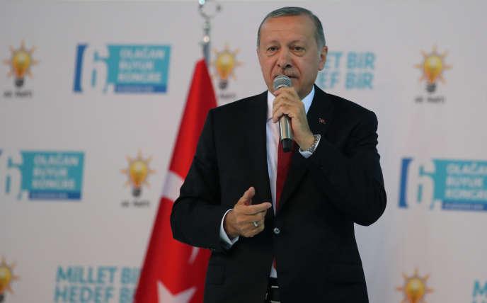 RecepTayyip Erdogan, lors du congrès de l'AKP, à Ankara, le 18 août.