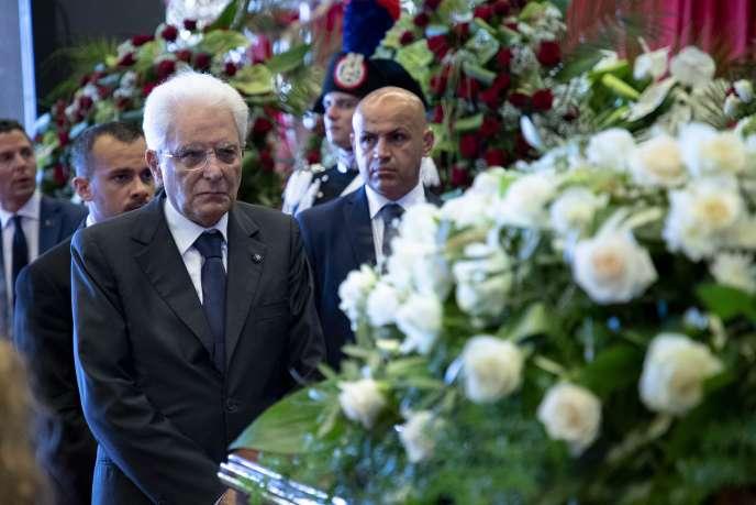 Le président italien Sergio Mattarella à la cérémonie en hommage aux victimes de Gênes, le 18 août.