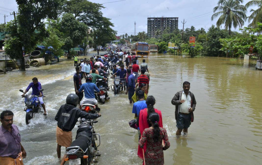 A Thrissur, dans la province indienne du Kerala,le 17 août.