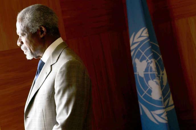 Kofi Annan dans les locaux de l'Organisation des nations unies, à Genève, en 2012.