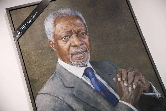 Hommage à Kofi Annan au siège des Nations unies, à Genève, le 18 août.