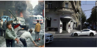 Image left: FILE - In this Aug. 21, 1968 file photo Prague residents carrying a Czechoslovakian flag and throwing burning torches, attempt to stop a Soviet tank in downtown Prague, Czechoslovakia. (Libor Hajsky/CTK via AP, file) Image on right: In this picture taken on Thursday, Aug. 16, 2018 cars drive downtown Prague. On August 21, 2018 Czech Republic is commemorating the 50th anniversary of the Soviet-led invasion in Czechoslovakia in 1968. (AP Photo/Petr David Josek)