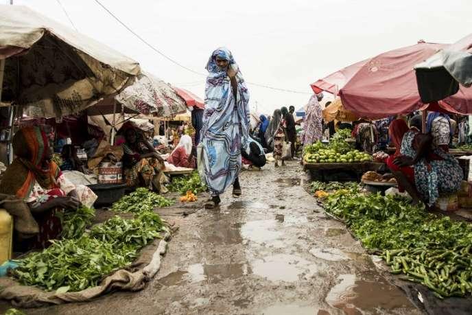 Sur un marché à N'Djamena, au Tchad, en août 2017.