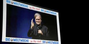 Steve Bannon lors d'une conférence pour l'hebdomadaire suisse Die Weltwoche, à Zurich, le 6 mars.