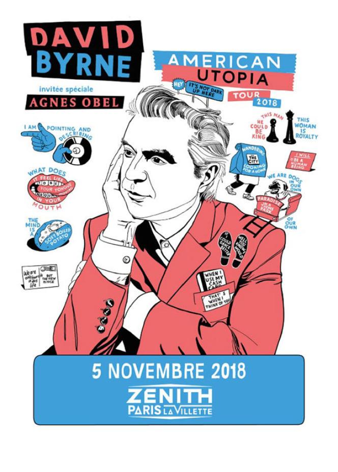 Affiche du concert de David Byrne, au Zénith de Paris.