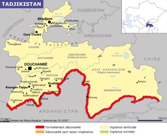 Régions conseillées et déconseillées au Tadjikistan par le ministère des affaires étrangères français.