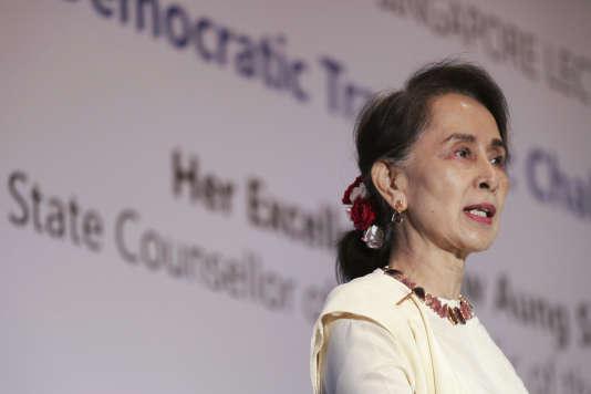 Aung San Suu Kyi lors d'une conférence à Singapour, le 21 août 2018.