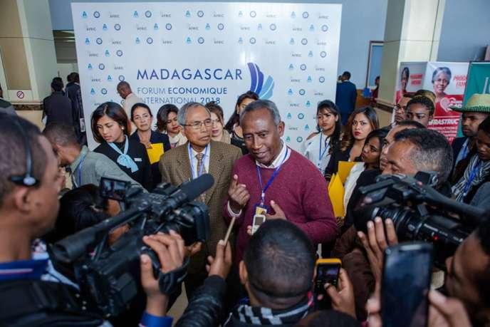 Zafimahaleo Rasolofondraosolo, alias Dama, auForum économique international de Madagascar, les 17 et 18 août 2018 à Antananarivo.