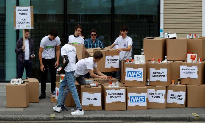 Opération de militants anti-Brexit à Londres, le 22 août 2018.