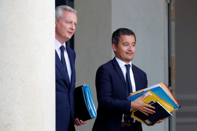 Le ministre de l'économie et des finances, Bruno Le Maire, et celui de l'action et des comptes publics,Gérald Darmanin, le 22 août à l'Elysée.