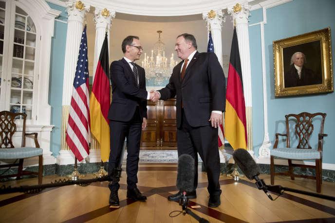 Le ministre allemand des affaires étrangères, Heiko Maas, avec son homologue américain, Mike Pompeo, à Washington, le 23 mai.