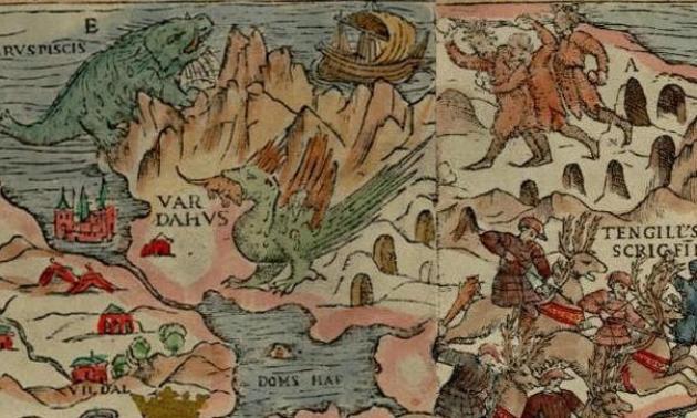 Détail de la «Carta marina», tracée en 1539.Sur certaines cartes du MoyenAge, la mention «Hic sunt dracones» figurait sur les espaces inexplorés du monde, promesse de merveilles et de dangers.