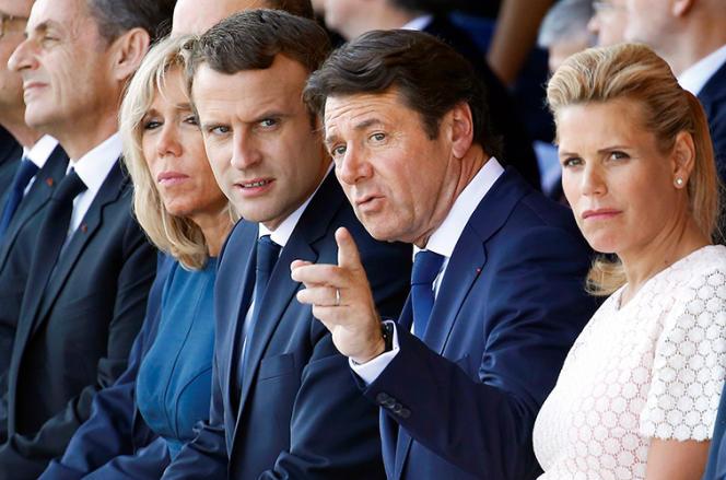 Brigitte et Emmanuel Macron, Christian Estrosi et Laura Tenoudji Estrosi à Nice, le 14 juillet 2017.