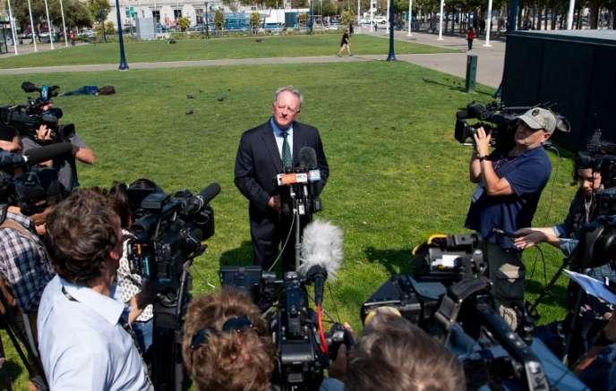 Le vice-président de Monsanto, Scott Partridge, à l'annonce de la condamnation en première instance du groupe à verser 289 millions de dollars à un jardinier exposé à l'herbicide Roundup, le 10 août.