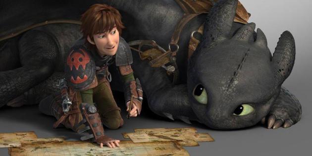 «Dragons» (2010), film d'animationréalisé parDean DeBloisetChris Sanders, où un jeune Viking, Harold, se lie d'amité avec un dragon.