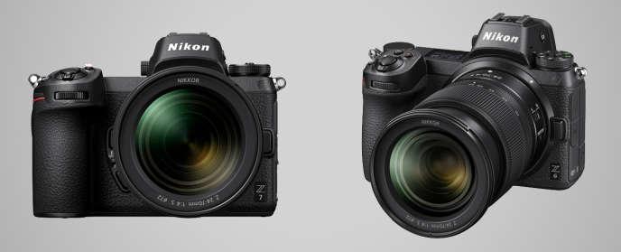 Le Z7 (à gauche) et le Z6 sont les premiers appareils hybrides de Nikon dotés d'un grand capteur 24x36mm, gage d'une qualité photo optimale. Le premier embarque un capteur de 45 megapixels et coûte 3700euros. Le second est doté d'un capteur 24megapixels et coûte 2300 euros. Ces deux appareils rappellent beaucoup les modèles hybrides de Sony.