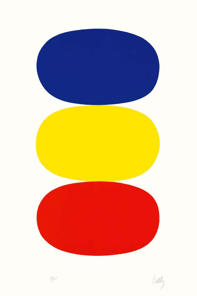 «Bleu et jaune et rouge-orange» (1964-1965), lithographie, bibliothèque de l'INHA, Paris.
