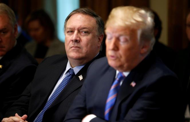 Mike Pompeo et Donald Trump, lors d'une réunion du cabinet du président à la Maison blanche, le 18 juillet 2018.